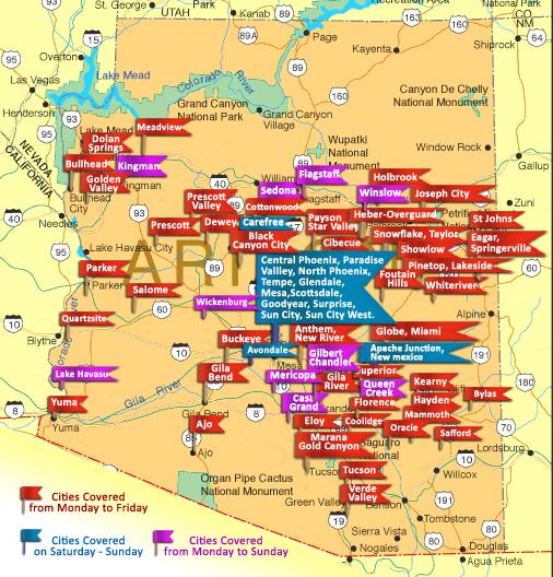 Map Of Arizona Hospitals.Arizona Medical Courier Kcs Courier Service